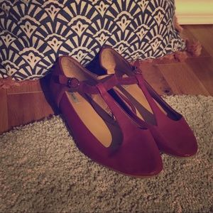 Kimchi Blue - Magenta Flats with ankle strap